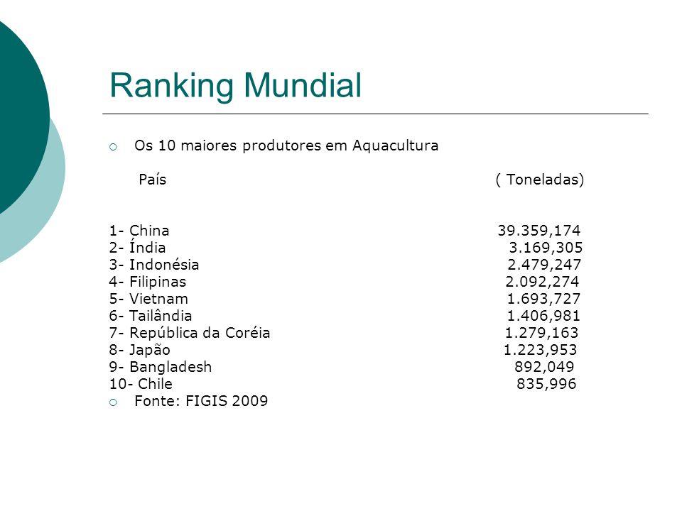 Ranking Mundial Os 10 maiores produtores em Aquacultura País ( Toneladas) 1- China 39.359,174 2- Índia 3.169,305 3- Indonésia 2.479,247 4- Filipinas 2