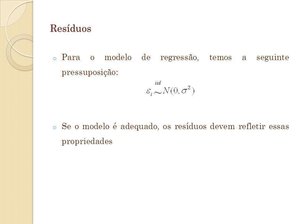 Resíduos o Para o modelo de regressão, temos a seguinte pressuposição: o Se o modelo é adequado, os resíduos devem refletir essas propriedades