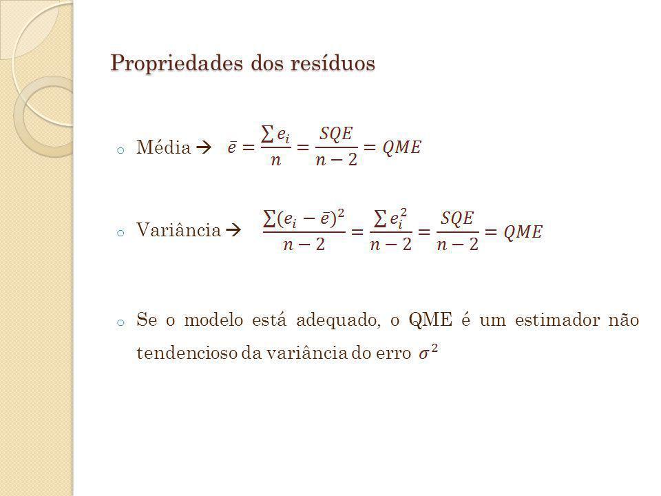 Propriedades dos resíduos o Média o Variância o Se o modelo está adequado, o QME é um estimador não tendencioso da variância do erro