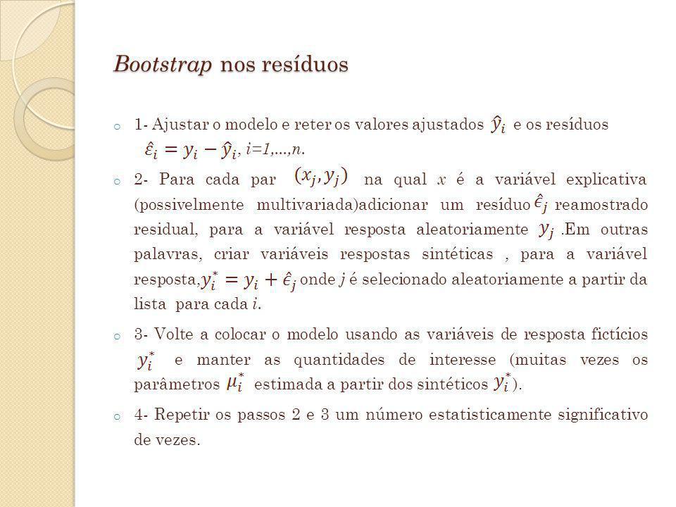 Bootstrap nos resíduos o 1- Ajustar o modelo e reter os valores ajustados e os resíduos, i=1,...,n. o 2- Para cada par na qual x é a variável explicat