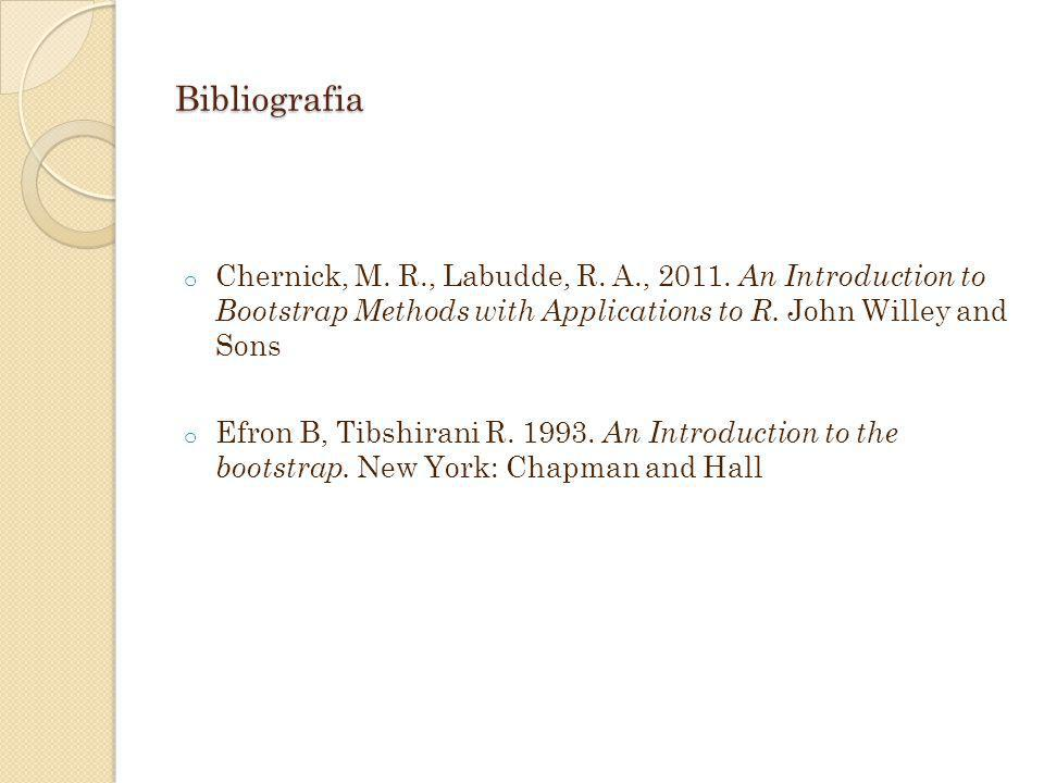 Bibliografia o Chernick, M. R., Labudde, R. A., 2011. An Introduction to Bootstrap Methods with Applications to R. John Willey and Sons o Efron B, Tib