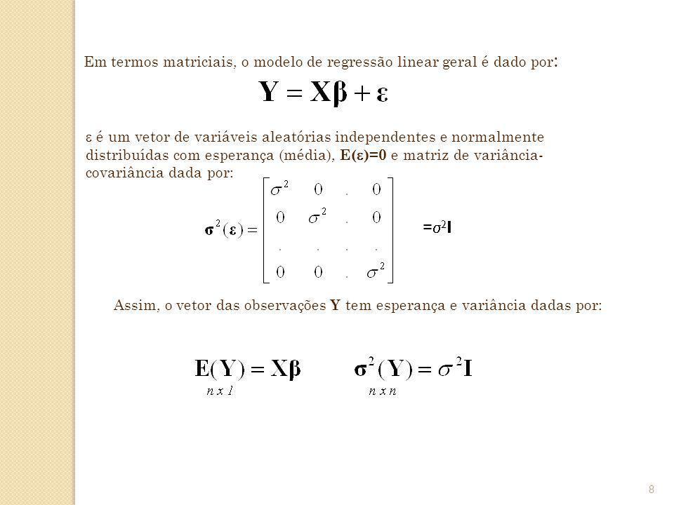 8 Em termos matriciais, o modelo de regressão linear geral é dado por : é um vetor de variáveis aleatórias independentes e normalmente distribuídas co