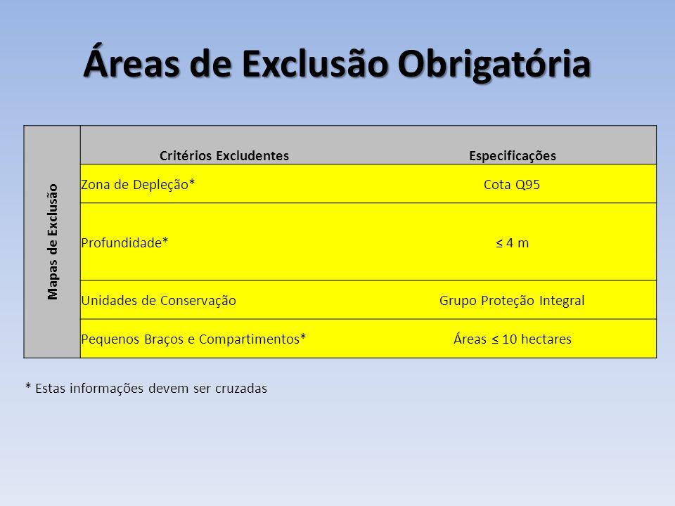 Áreas de Exclusão Obrigatória Mapas de Exclusão Critérios ExcludentesEspecificações Zona de Depleção*Cota Q95 Profundidade* 4 m Unidades de ConservaçãoGrupo Proteção Integral Pequenos Braços e Compartimentos*Áreas 10 hectares * Estas informações devem ser cruzadas