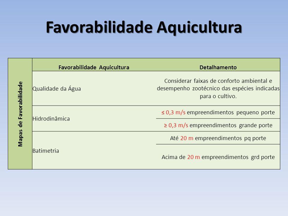 Favorabilidade Aquicultura Mapas de Favorabilidade Favorabilidade AquiculturaDetalhamento Qualidade da Água Considerar faixas de conforto ambiental e desempenho zootécnico das espécies indicadas para o cultivo.