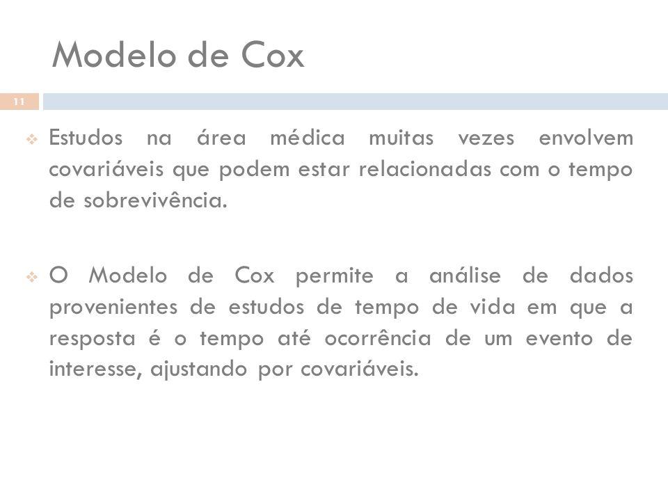 Modelo de Cox 11 Estudos na área médica muitas vezes envolvem covariáveis que podem estar relacionadas com o tempo de sobrevivência. O Modelo de Cox p