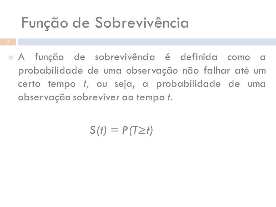 Função de Sobrevivência 7 A função de sobrevivência é definida como a probabilidade de uma observação não falhar até um certo tempo t, ou seja, a prob