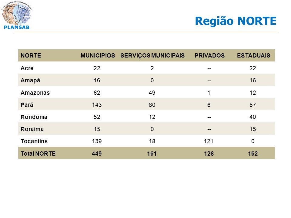 NORTEMUNICIPIOSSERVIÇOS MUNICIPAISPRIVADOSESTADUAIS Acre222--22 Amapá160--16 Amazonas6249112 Pará14380657 Rondônia5212--40 Roraima150--15 Tocantins139