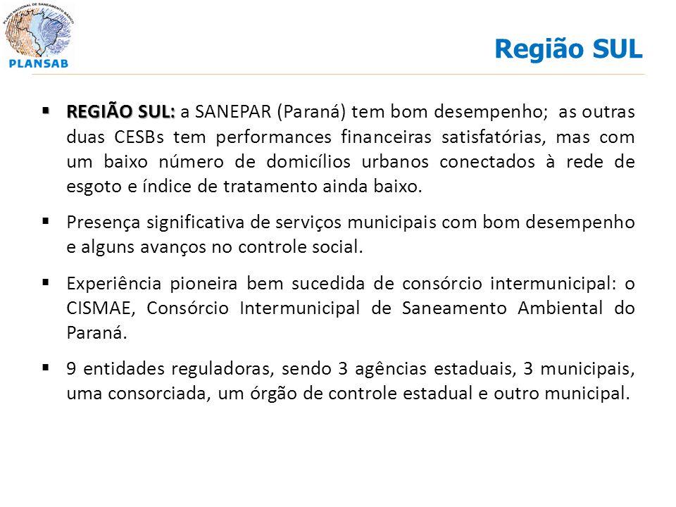 REGIÃO SUL: REGIÃO SUL: a SANEPAR (Paraná) tem bom desempenho; as outras duas CESBs tem performances financeiras satisfatórias, mas com um baixo númer