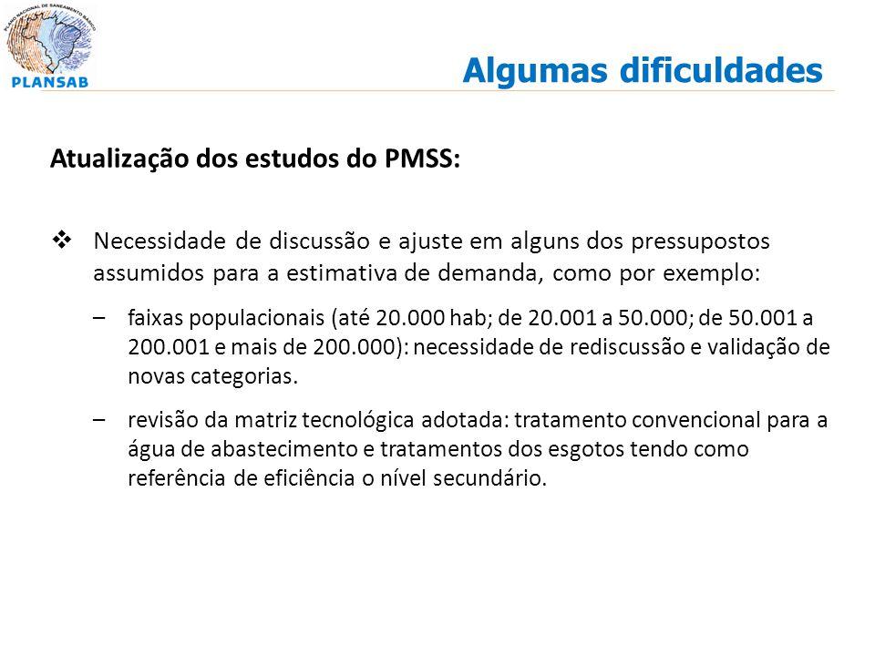 Atualização dos estudos do PMSS: Necessidade de discussão e ajuste em alguns dos pressupostos assumidos para a estimativa de demanda, como por exemplo