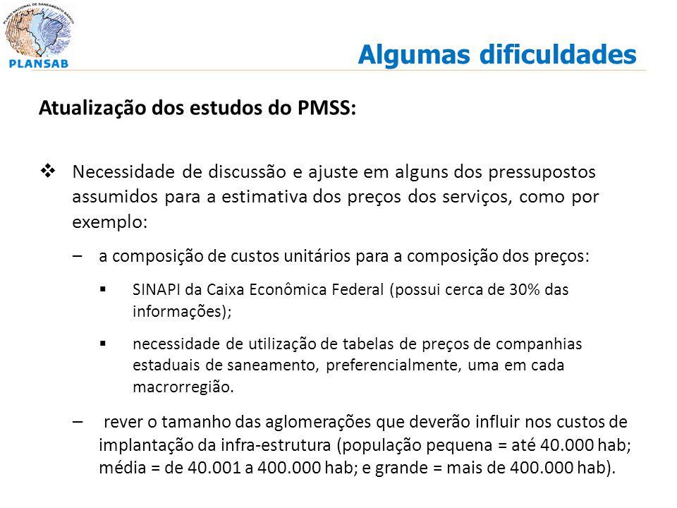 Atualização dos estudos do PMSS: Necessidade de discussão e ajuste em alguns dos pressupostos assumidos para a estimativa dos preços dos serviços, com