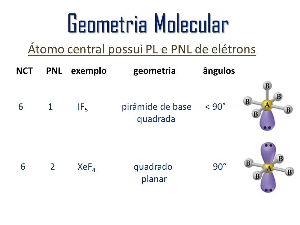 Átomo central possui PL e PNL de elétrons Geometria Molecular NCTPNL exemplo geometria ângulos 6 1 IF 5 pirâmide de base < 90° quadrada 6 2 XeF 4 quad