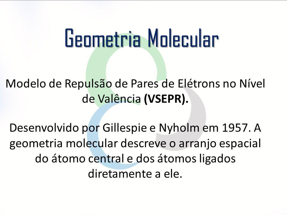 Modelo de Repulsão de Pares de Elétrons no Nível de Valência (VSEPR). Desenvolvido por Gillespie e Nyholm em 1957. A geometria molecular descreve o ar