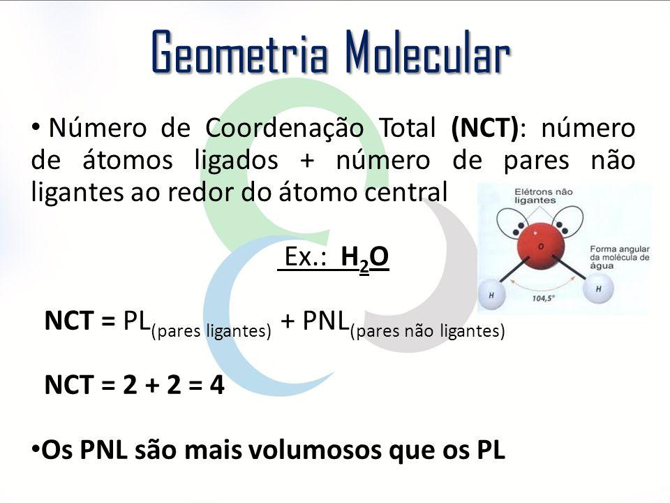 Número de Coordenação Total (NCT): número de átomos ligados + número de pares não ligantes ao redor do átomo central Ex.: H 2 O NCT = PL (pares ligant
