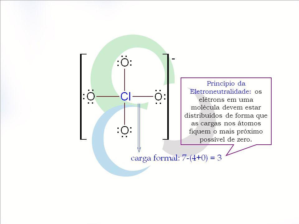 Princípio da Eletroneutralidade: os elétrons em uma molécula devem estar distribuídos de forma que as cargas nos átomos fiquem o mais próximo possível