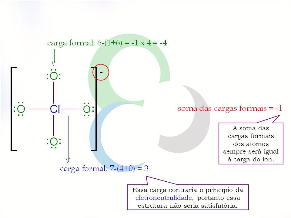 Calculando a carga formal para o íon ClO 4 - Calculando a carga formal para o íon ClO 4 - 2ª proposta Estrutura de Lewis – 2ª proposta Somente elementos do 3º período e períodos mais elevados da Tabela Periódica formam compostos em que um octeto é excedido O cloro é um elemento do 3º período da Tabela Periódica