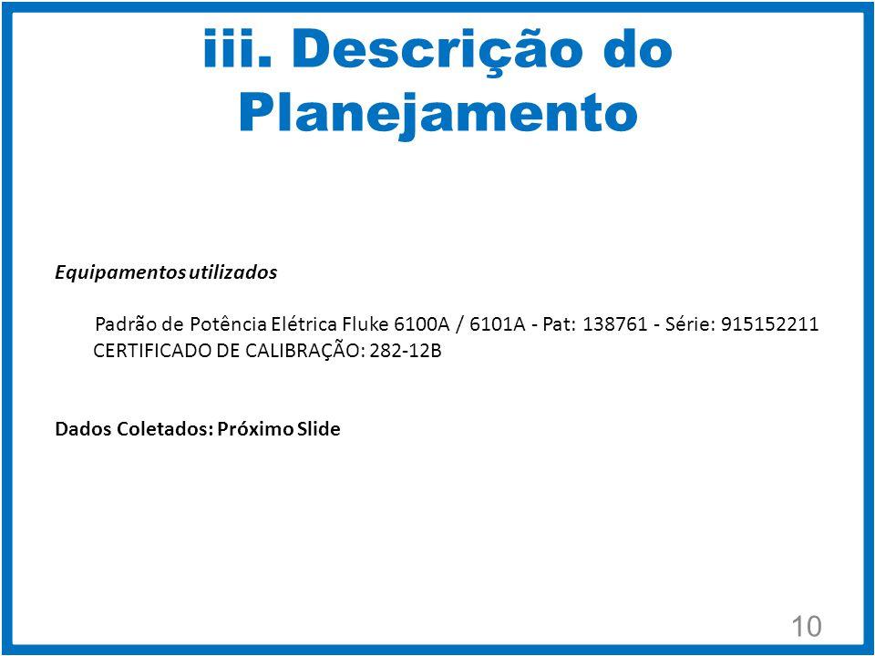 iii. Descrição do Planejamento 10 Equipamentos utilizados Padrão de Potência Elétrica Fluke 6100A / 6101A - Pat: 138761 - Série: 915152211 CERTIFICADO