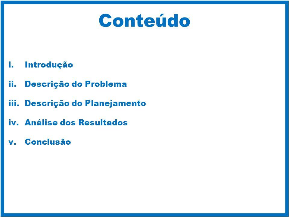 Conteúdo i.Introdução ii.Descrição do Problema iii.Descrição do Planejamento iv.Análise dos Resultados v.Conclusão