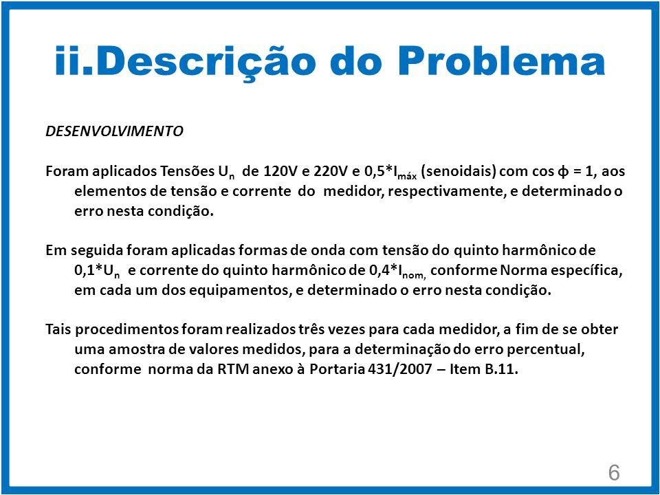 ii.Descrição do Problema 6 DESENVOLVIMENTO Foram aplicados Tensões U n de 120V e 220V e 0,5*I máx (senoidais) com cos φ = 1, aos elementos de tensão e