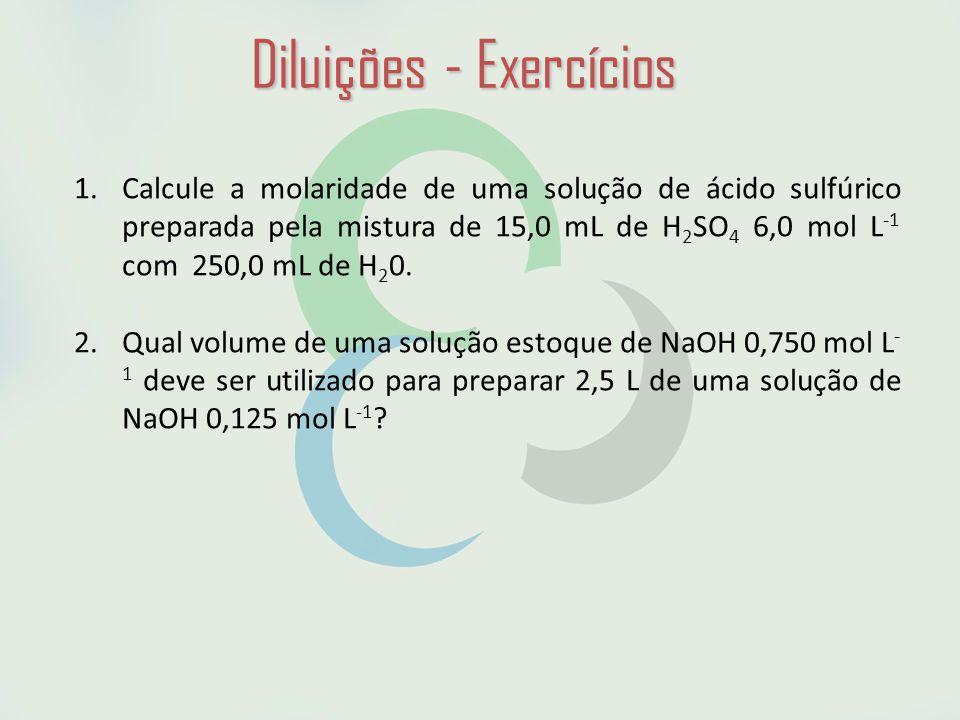 Diluições - Exercícios 1.Calcule a molaridade de uma solução de ácido sulfúrico preparada pela mistura de 15,0 mL de H 2 SO 4 6,0 mol L -1 com 250,0 mL de H 2 0.