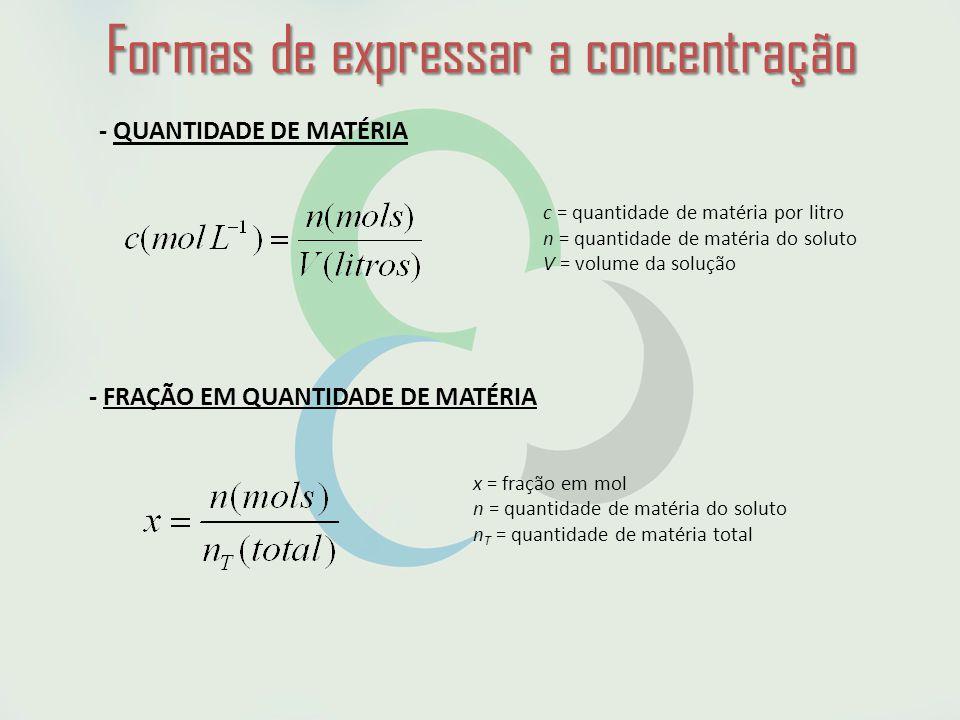 Formas de expressar a concentração - QUANTIDADE DE MATÉRIA c = quantidade de matéria por litro n = quantidade de matéria do soluto V = volume da solução - FRAÇÃO EM QUANTIDADE DE MATÉRIA x = fração em mol n = quantidade de matéria do soluto n T = quantidade de matéria total