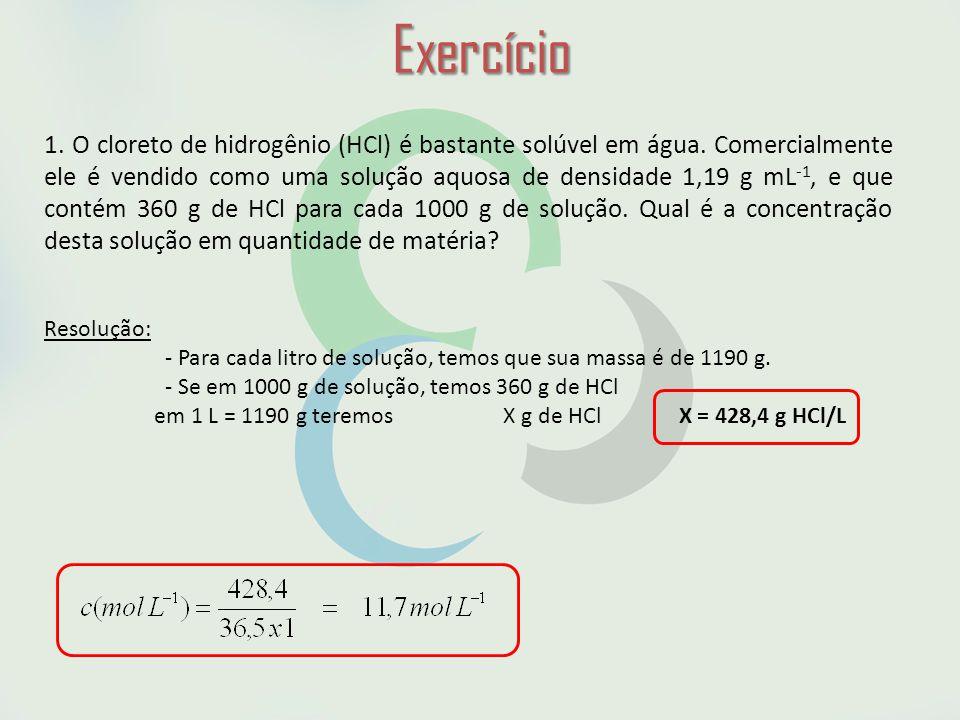 Exercício 1.O cloreto de hidrogênio (HCl) é bastante solúvel em água.