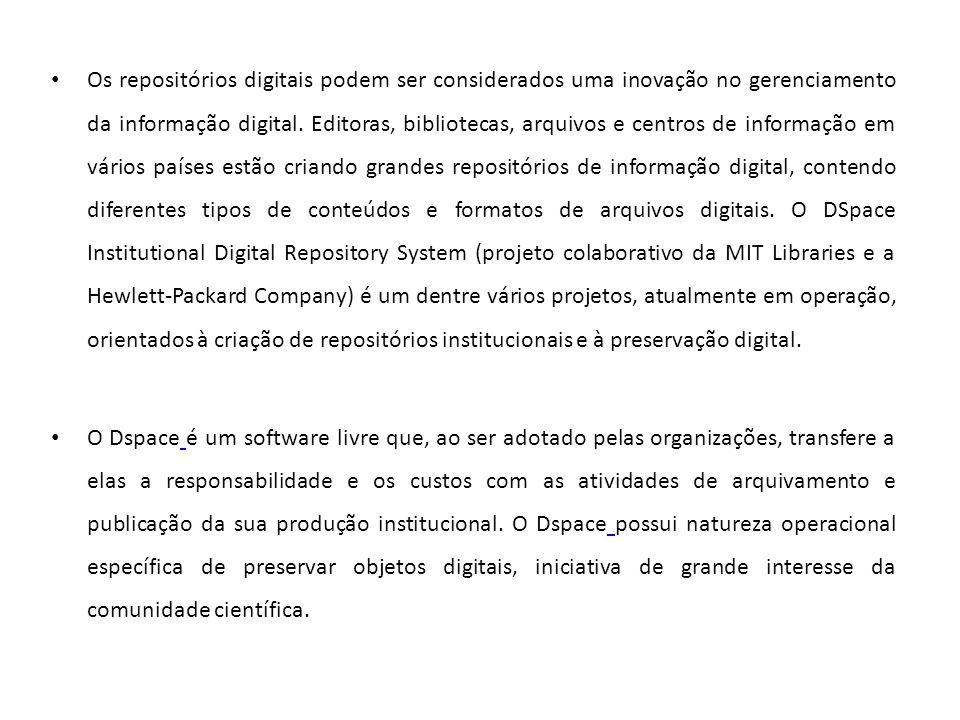 Os repositórios digitais podem ser considerados uma inovação no gerenciamento da informação digital.