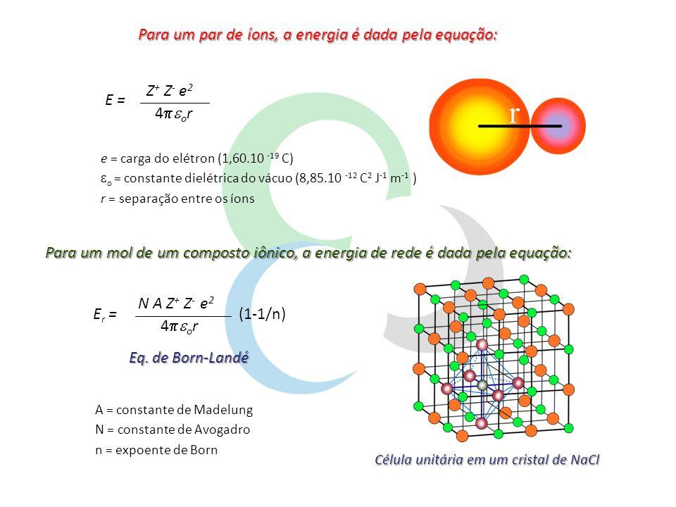 Constante de Madelung (A): Constante de Madelung (A): depende da geometria de arranjo dos íons EstruturaConstante de Madelung (A) Cloreto de Césio (CsCl)1,76267 Cloreto de Sódio (NaCl)1,74756 Blenda (ZnS)1,63806 Wurtzita (ZnS)1,64132 Fluorita (CaF 2 )2,51939 Rutilo (TiO 2 )2,408( * ) Córindon (Al 2 O 3 )2,1719( * ) * Valores exatos dependem de detalhes da estrutura Expoentes de Born (n): Expoentes de Born (n): obtidos a partir de dados de compressibilidade de cristais Configuração do íonn He5 Ne7 Ar, Cu + 9 Kr, Ag + 10 Xe, Au + 12