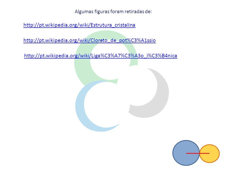 http://pt.wikipedia.org/wiki/Estrutura_cristalina http://pt.wikipedia.org/wiki/Cloreto_de_pot%C3%A1ssio http://pt.wikipedia.org/wiki/Liga%C3%A7%C3%A3o