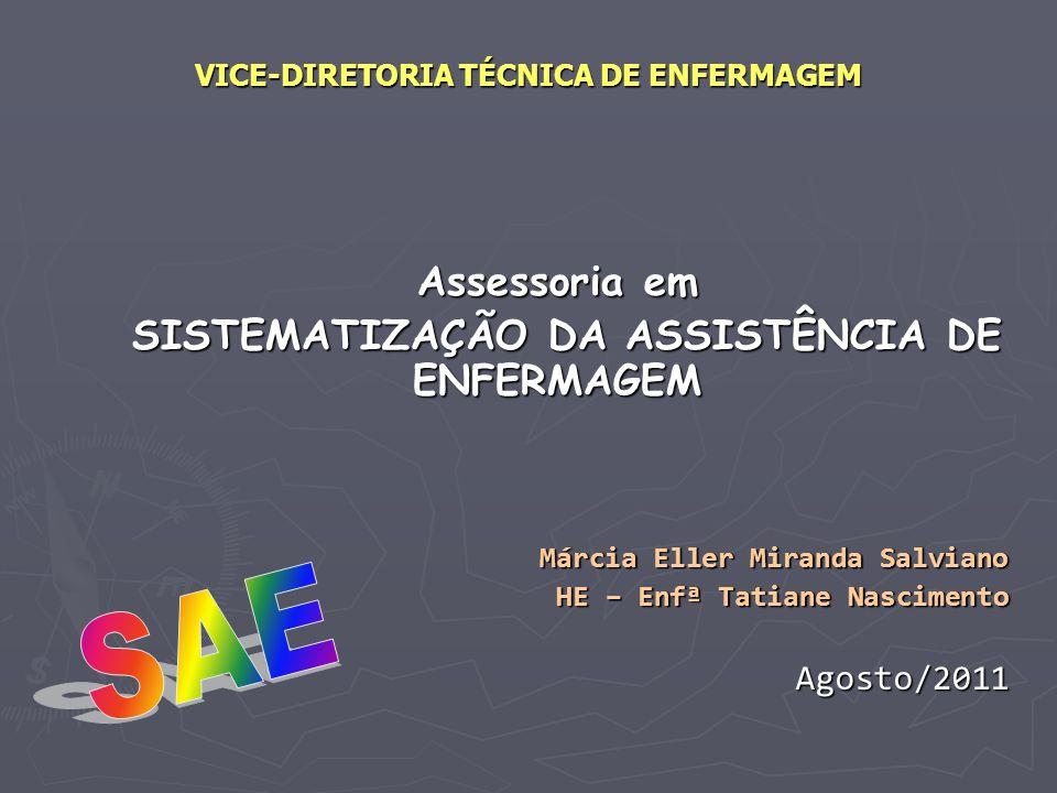 VICE-DIRETORIA TÉCNICA DE ENFERMAGEM Assessoria em SISTEMATIZAÇÃO DA ASSISTÊNCIA DE ENFERMAGEM SISTEMATIZAÇÃO DA ASSISTÊNCIA DE ENFERMAGEM Márcia Elle