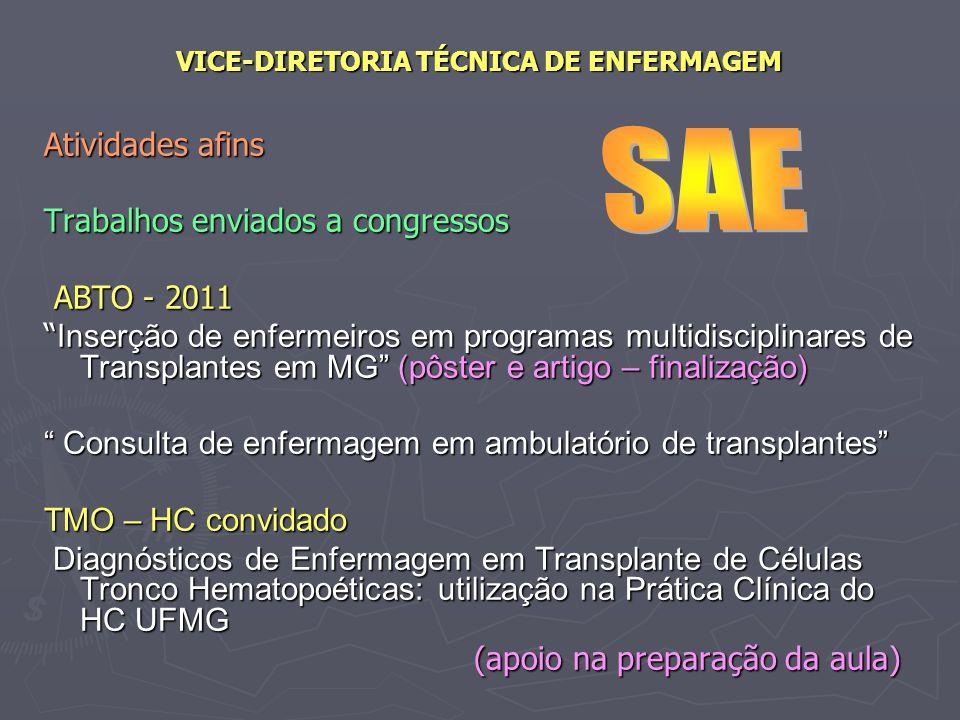 VICE-DIRETORIA TÉCNICA DE ENFERMAGEM Atividades afins Trabalhos enviados a congressos ABTO - 2011 ABTO - 2011 Inserção de enfermeiros em programas mul