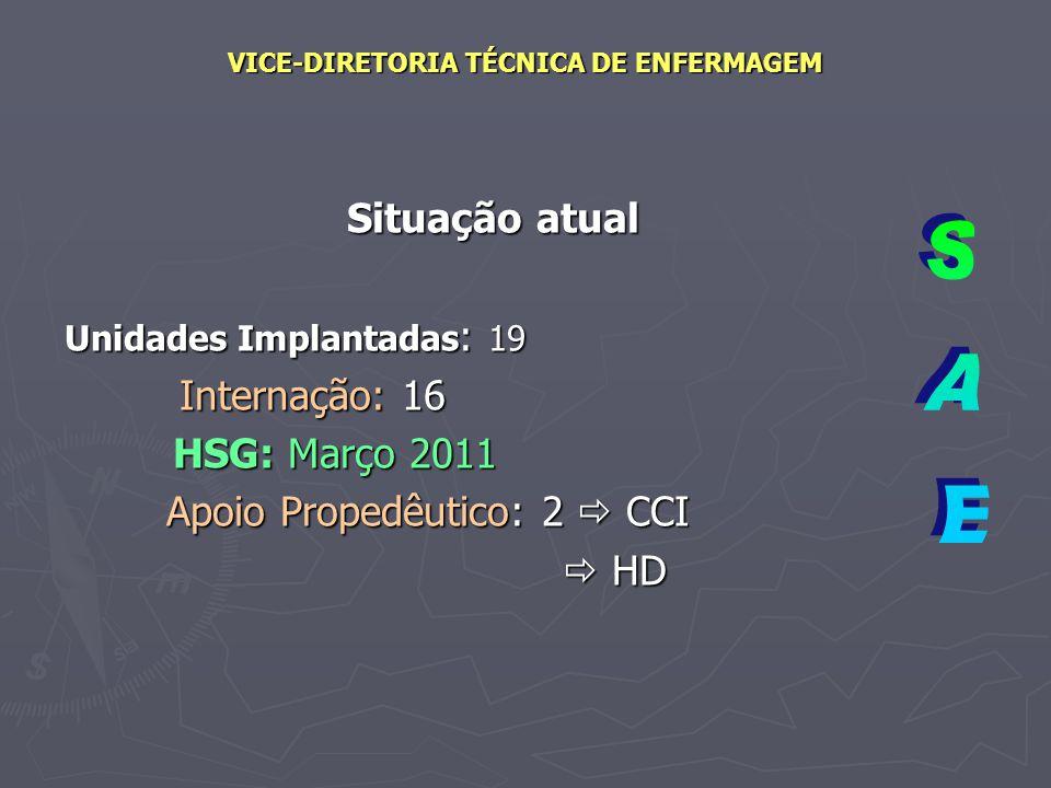 VICE-DIRETORIA TÉCNICA DE ENFERMAGEM Situação atual Unidades Implantadas : 19 Internação: 16 Internação: 16 HSG: Março 2011 HSG: Março 2011 Apoio Prop