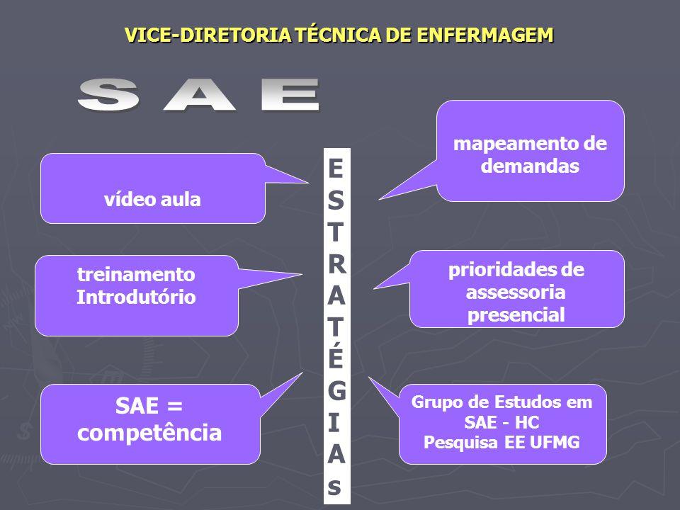 VICE-DIRETORIA TÉCNICA DE ENFERMAGEM mapeamento de demandas Grupo de Estudos em SAE - HC Pesquisa EE UFMG vídeo aula SAE = competência treinamento Int
