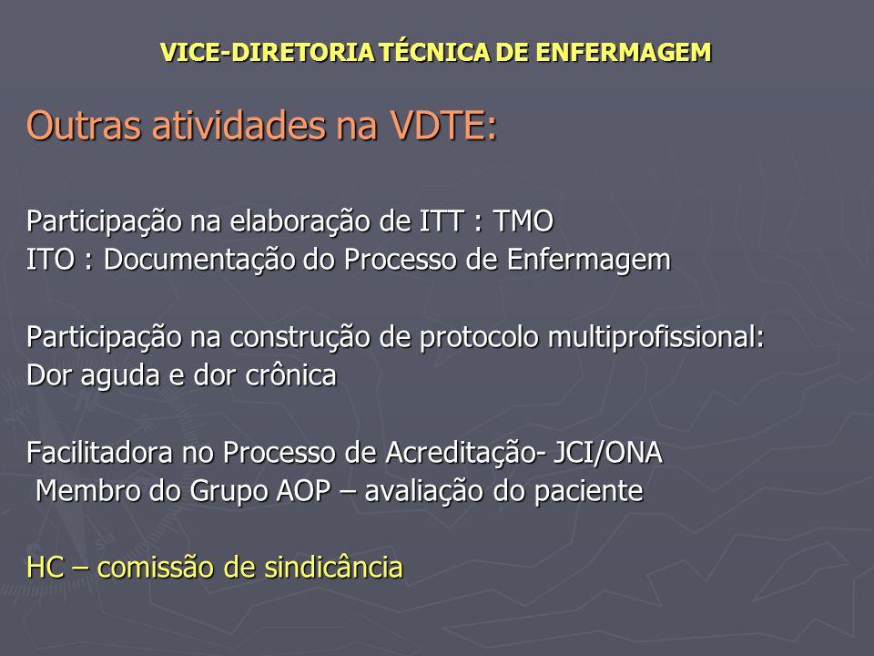 VICE-DIRETORIA TÉCNICA DE ENFERMAGEM Outras atividades na VDTE: Participação na elaboração de ITT : TMO ITO : Documentação do Processo de Enfermagem P