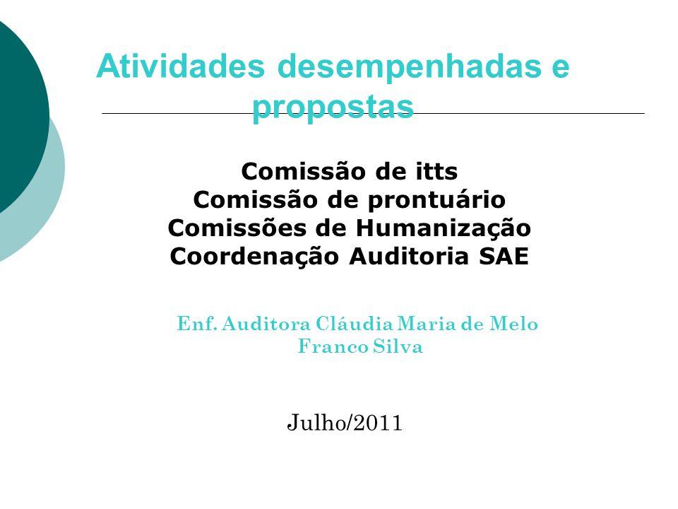 Comissão de itts Comissão de prontuário Comissões de Humanização Coordenação Auditoria SAE Atividades desempenhadas e propostas Julho/2011 Enf.