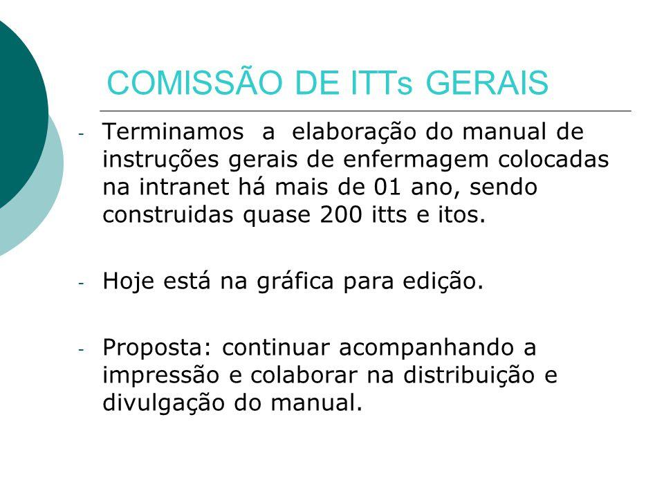 COMISSÃO DE ITTs GERAIS - Terminamos a elaboração do manual de instruções gerais de enfermagem colocadas na intranet há mais de 01 ano, sendo construidas quase 200 itts e itos.