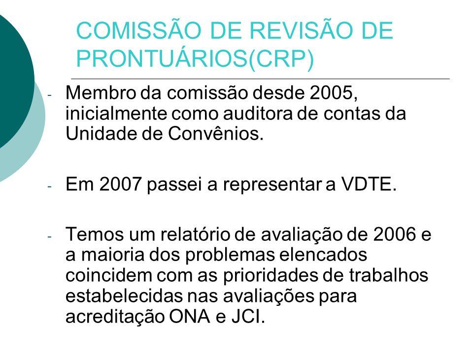 - Membro da comissão desde 2005, inicialmente como auditora de contas da Unidade de Convênios.