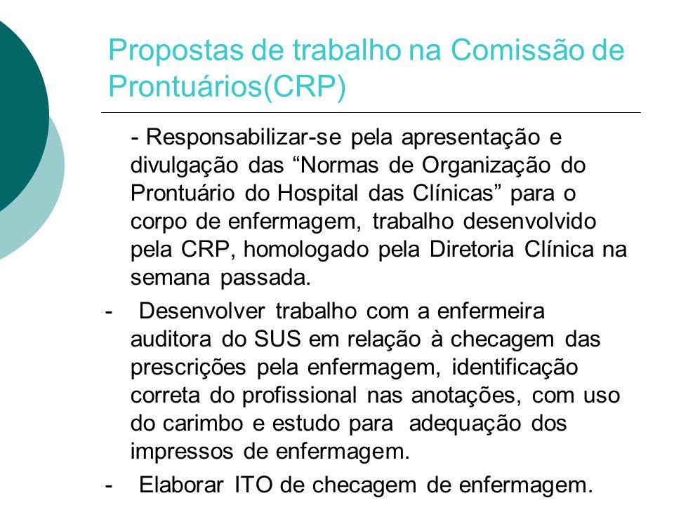 Propostas de trabalho na Comissão de Prontuários(CRP) - Responsabilizar-se pela apresentação e divulgação das Normas de Organização do Prontuário do Hospital das Clínicas para o corpo de enfermagem, trabalho desenvolvido pela CRP, homologado pela Diretoria Clínica na semana passada.