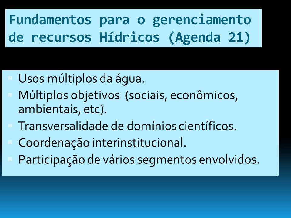Fundamentos para o gerenciamento de recursos Hídricos (Agenda 21) Usos múltiplos da água. Múltiplos objetivos (sociais, econômicos, ambientais, etc).