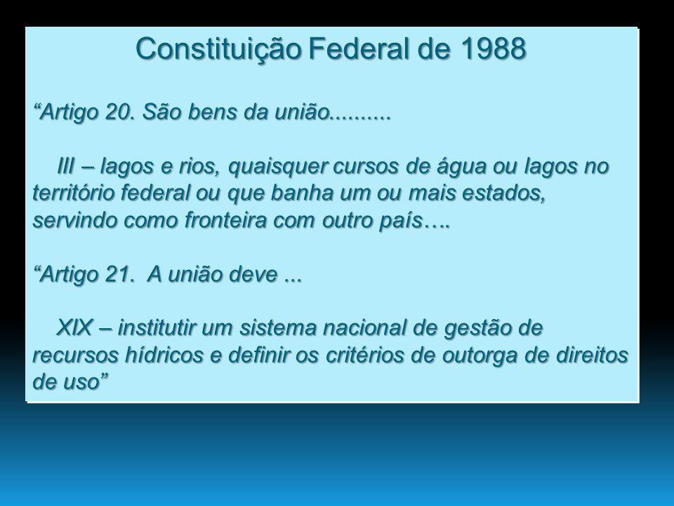 Constituição Federal de 1988 Artigo 20. São bens da união.......... III – lagos e rios, quaisquer cursos de água ou lagos no território federal ou que