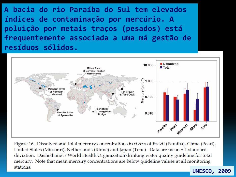 A bacia do rio Paraíba do Sul tem elevados índices de contaminação por mercúrio. A poluição por metais traços (pesados) está frequentemente associada