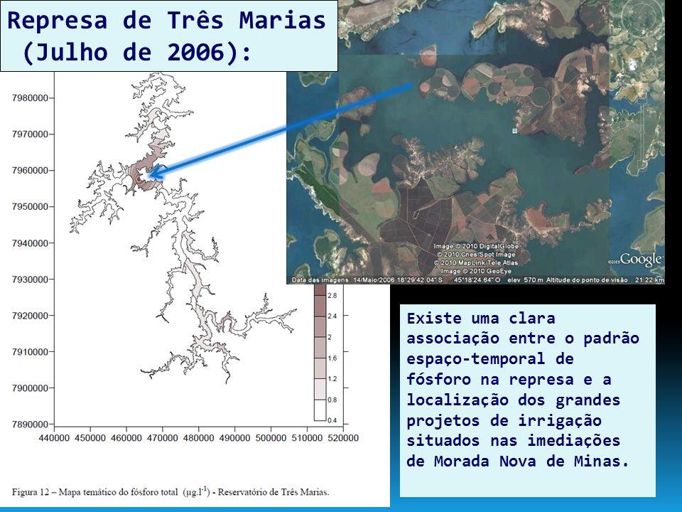 Represa de Três Marias (Julho de 2006): Existe uma clara associação entre o padrão espaço-temporal de fósforo na represa e a localização dos grandes p