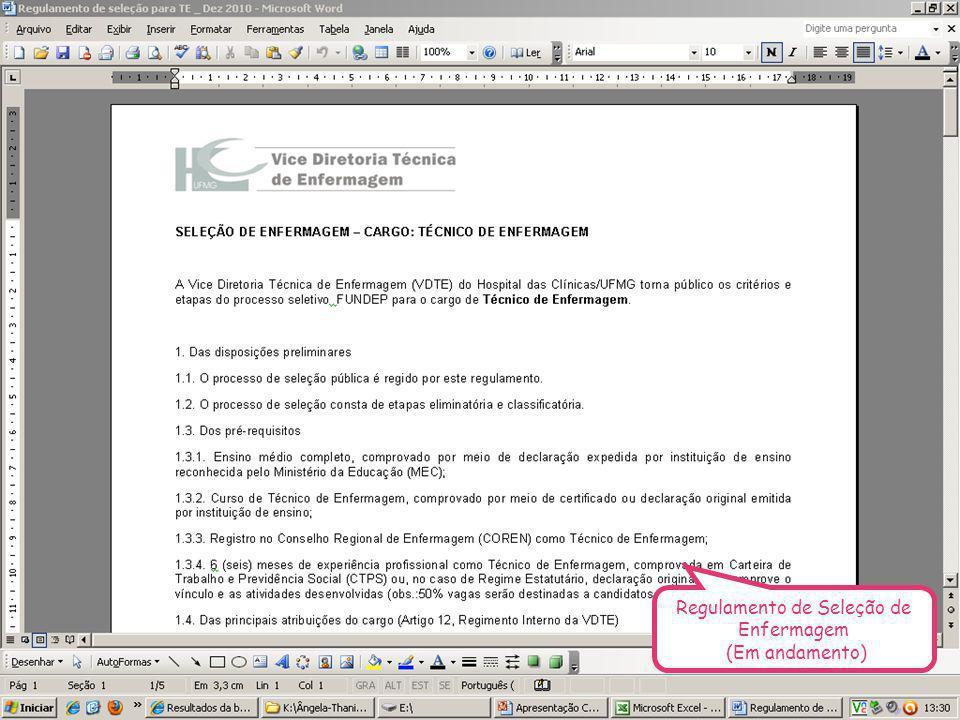 Regulamento de Seleção de Enfermagem (Em andamento)