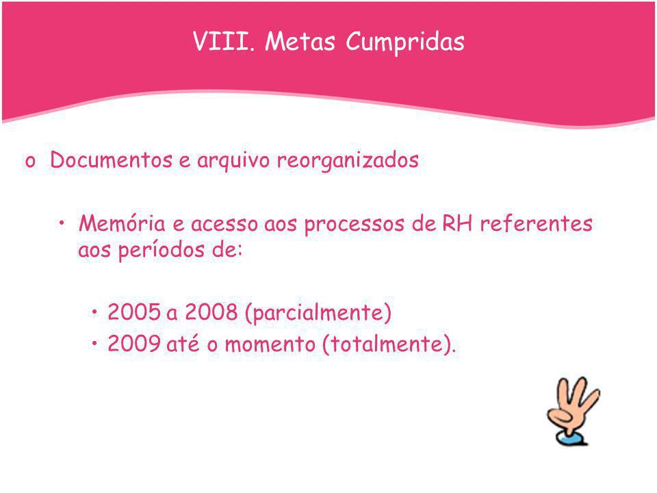 oDocumentos e arquivo reorganizados Memória e acesso aos processos de RH referentes aos períodos de: 2005 a 2008 (parcialmente) 2009 até o momento (to