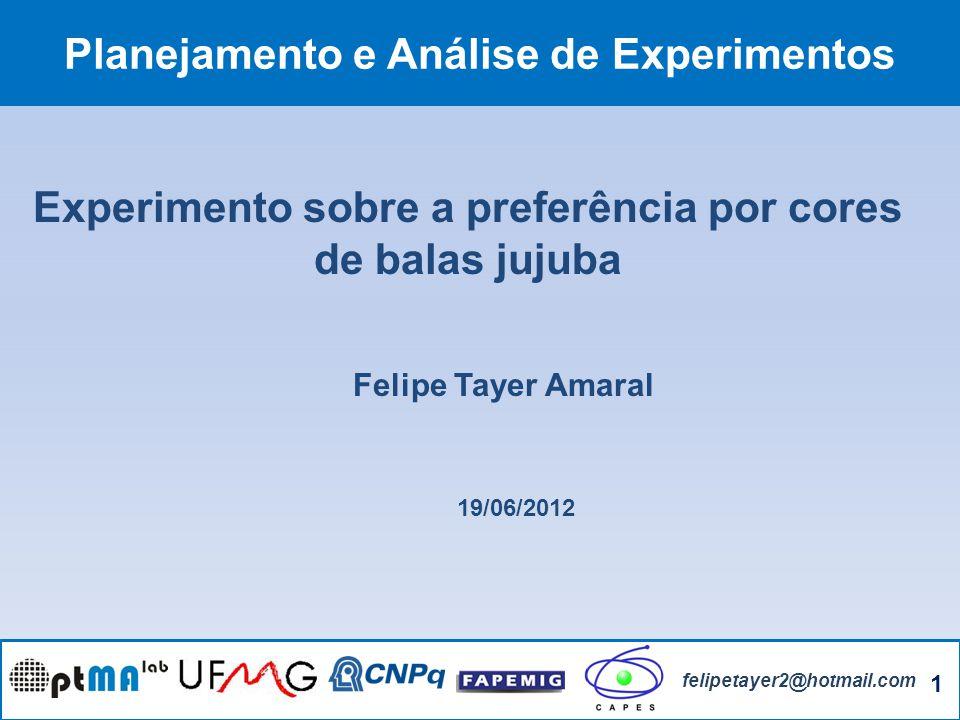 1 felipetayer2@hotmail.com Planejamento e Análise de Experimentos Felipe Tayer Amaral Experimento sobre a preferência por cores de balas jujuba 19/06/