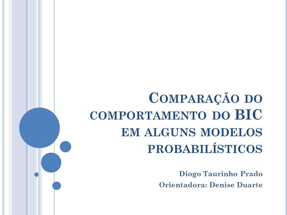 C OMPARAÇÃO DO COMPORTAMENTO DO BIC EM ALGUNS MODELOS PROBABILÍSTICOS Diogo Taurinho Prado Orientadora: Denise Duarte