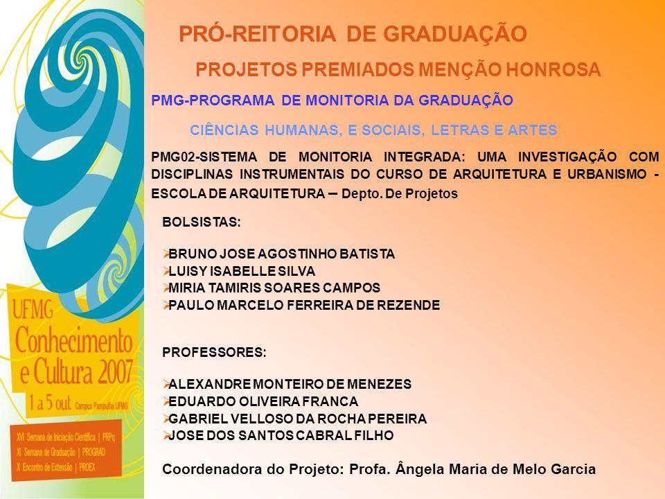 UFMG - Universidade Federal de Minas Gerais PRÓ-REITORIA DE GRADUAÇÃO PROJETOS PREMIADOS MENÇÃO HONROSA PMG-PROGRAMA DE MONITORIA DA GRADUAÇÃO CIÊNCIA