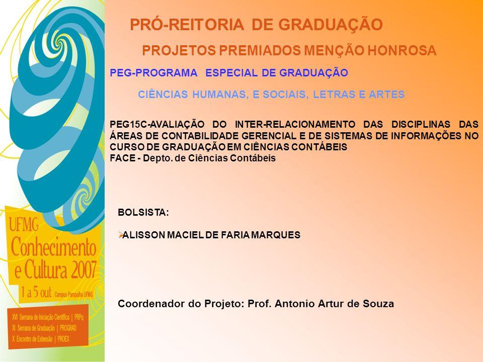 UFMG - Universidade Federal de Minas Gerais PRÓ-REITORIA DE GRADUAÇÃO PROJETOS PREMIADOS MENÇÃO HONROSA PEG-PROGRAMA ESPECIAL DE GRADUAÇÃO CIÊNCIAS HU
