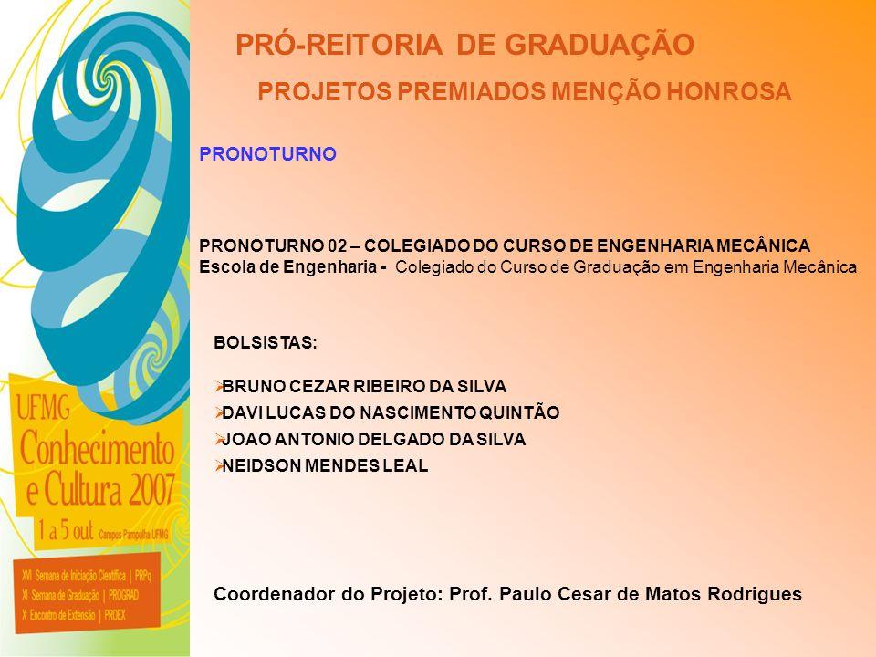 UFMG - Universidade Federal de Minas Gerais PRÓ-REITORIA DE GRADUAÇÃO PROJETOS PREMIADOS MENÇÃO HONROSA PRONOTURNO PRONOTURNO 02 – COLEGIADO DO CURSO
