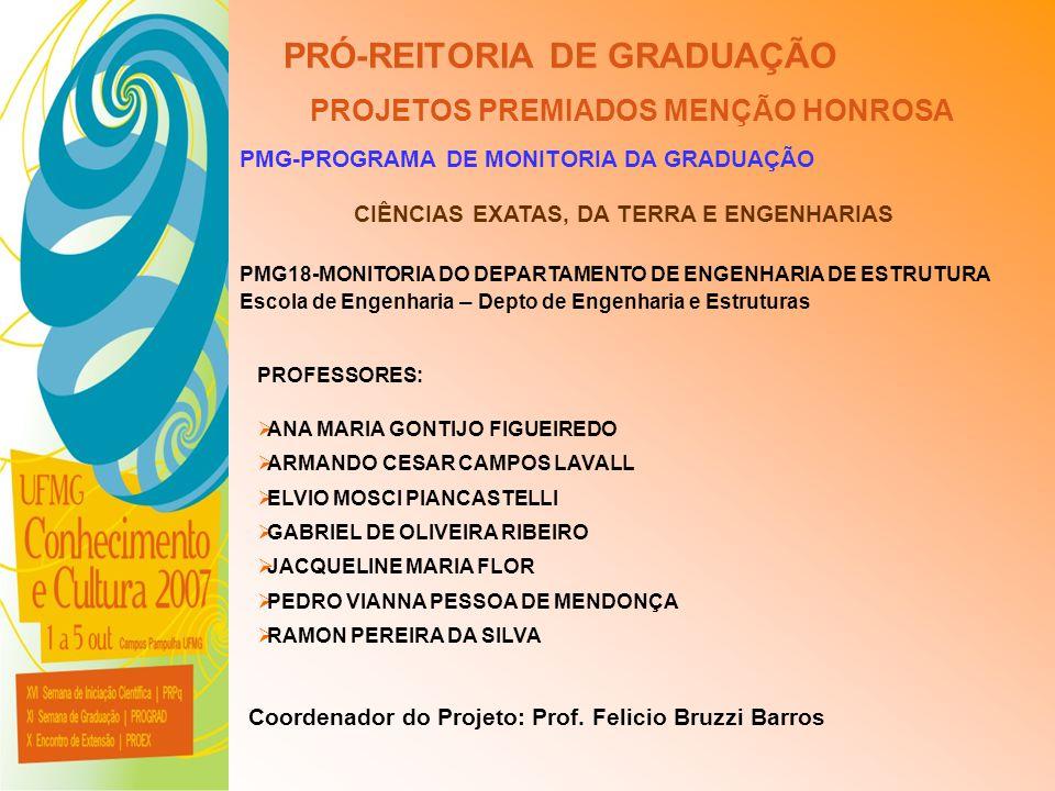 UFMG - Universidade Federal de Minas Gerais PRÓ-REITORIA DE GRADUAÇÃO PROJETOS PREMIADOS MENÇÃO HONROSA PMG-PROGRAMA DE MONITORIA DA GRADUAÇÃO PMG18-M