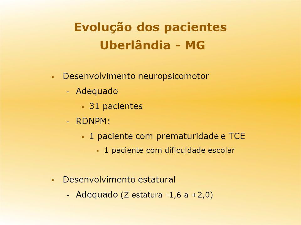 Evolução dos pacientes Uberlândia - MG Desenvolvimento neuropsicomotor - Adequado 31 pacientes - RDNPM: 1 paciente com prematuridade e TCE 1 paciente